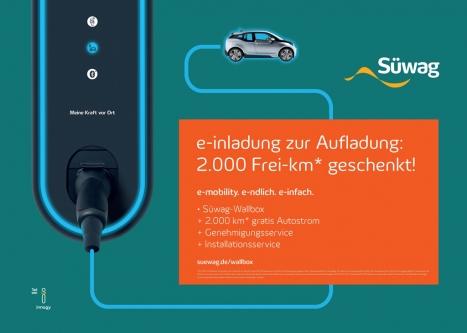 Das Kastner-Team um ECD Stefan Schmidt sorgt für e-ffektive Aufmerksamkeit der neuen Süwag-Wallboxen
